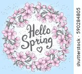 hello spring greeting card.... | Shutterstock .eps vector #590284805