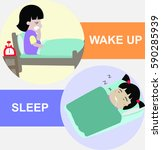 wake up and sleep vector... | Shutterstock .eps vector #590285939
