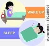 wake up and sleep vector... | Shutterstock .eps vector #590285939
