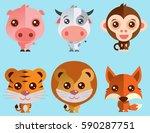 funny baby cartoon animal... | Shutterstock .eps vector #590287751