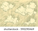 clouds in the sky. hand drawn...   Shutterstock .eps vector #590290469