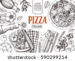 italian cuisine top view frame. ... | Shutterstock .eps vector #590299214