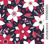 vector seamless festive floral... | Shutterstock .eps vector #590300201