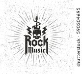 grunge monochrome rock music... | Shutterstock .eps vector #590304695