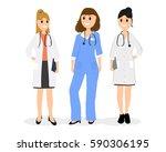 group of women doctors. | Shutterstock .eps vector #590306195