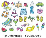 beach theme doodle on white... | Shutterstock .eps vector #590307059