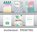 set of birthday card on retro... | Shutterstock .eps vector #590307581