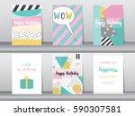 set of birthday card on retro... | Shutterstock .eps vector #590307581
