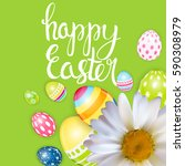 happy easter spring holiday... | Shutterstock .eps vector #590308979