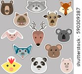 set of vector stickers with... | Shutterstock .eps vector #590309387