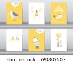 set of cute animals poster... | Shutterstock .eps vector #590309507