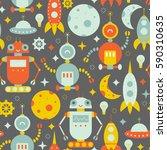 vector seamless robots pattern | Shutterstock .eps vector #590310635