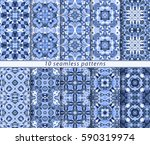 ten seamless patterns in... | Shutterstock .eps vector #590319974