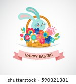 happy easter greeting card ... | Shutterstock .eps vector #590321381