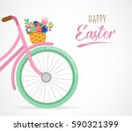 happy easter greeting card ... | Shutterstock .eps vector #590321399
