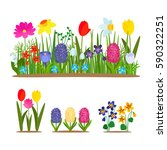 set of wild forest and garden... | Shutterstock .eps vector #590322251