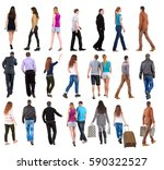collection back view of walking ... | Shutterstock . vector #590322527