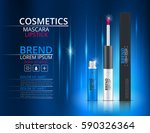 cosmetic lipstick and mascara.... | Shutterstock .eps vector #590326364