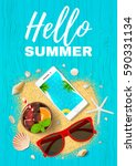 beautiful flyer for summer... | Shutterstock .eps vector #590331134