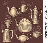 hot tea and coffee. design set. ... | Shutterstock .eps vector #590332691