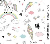 unicorn dreams pattern | Shutterstock .eps vector #590342771