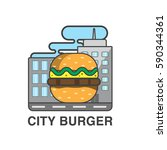 city burger. buildings and... | Shutterstock .eps vector #590344361