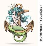beauty blue haired siren... | Shutterstock .eps vector #590353814