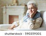 Pretty Elderly Woman In White...