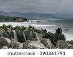 punakaiki  pancake rocks  new... | Shutterstock . vector #590361791