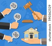 auctions and bidding concept.... | Shutterstock .eps vector #590362529