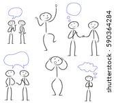 set of stick figure people | Shutterstock .eps vector #590364284