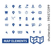 map elements icons | Shutterstock .eps vector #590372399