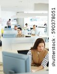 separate workplace cubicles... | Shutterstock . vector #590378051