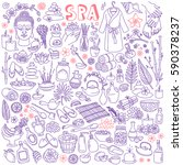Spa Doodle Set. Hand Drawn...