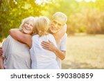samiling senior citizens greet... | Shutterstock . vector #590380859