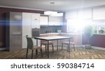 kitchen interior. 3d... | Shutterstock . vector #590384714