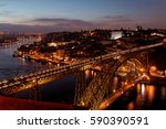 porto with the dom luiz bridge  ... | Shutterstock . vector #590390591