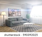interior with sofa. 3d... | Shutterstock . vector #590392025