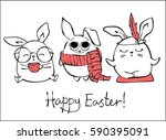 vector card with cute hipster... | Shutterstock .eps vector #590395091