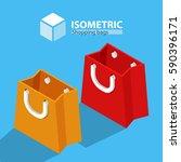 bag for shopping. isometric | Shutterstock .eps vector #590396171