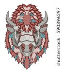 american buffalo head zentangle ... | Shutterstock .eps vector #590396297