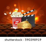 red cinema movie design poster... | Shutterstock .eps vector #590398919
