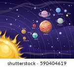 solar system with stars  sun ... | Shutterstock .eps vector #590404619