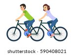 couple of man and woman riding... | Shutterstock . vector #590408021