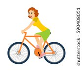 woman cyclist rides a bicycle.... | Shutterstock . vector #590408051