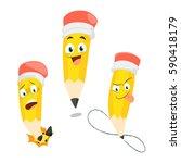 pencils cartoon set 1 | Shutterstock .eps vector #590418179