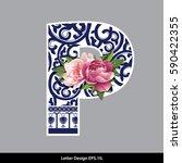 vector of peony flower on ... | Shutterstock .eps vector #590422355
