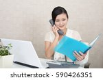business woman with a phone | Shutterstock . vector #590426351