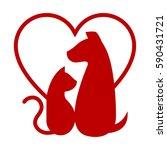 cat and dog. vet. heart | Shutterstock .eps vector #590431721