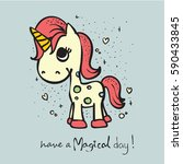cute magic unicorn card with... | Shutterstock .eps vector #590433845